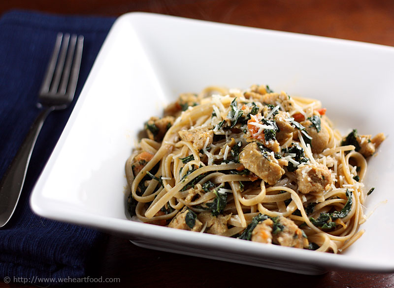 Fettuccine with Spicy Chicken Sausage, Kale, and Tomatoes » We [Heart ...
