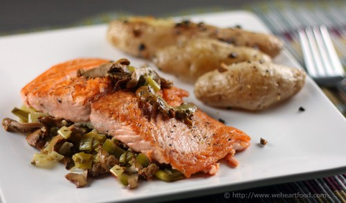 Oven Roasted Coho Salmon With Leeks And Chanterelle