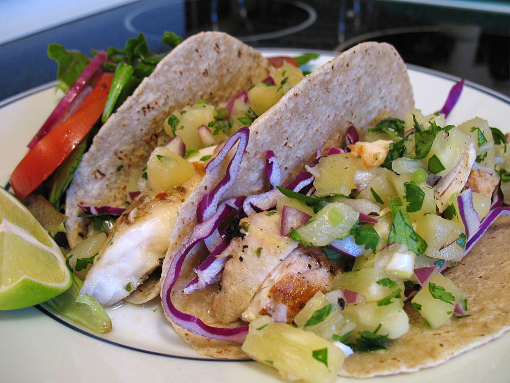 Fish Tacos and Pineapple Salsa